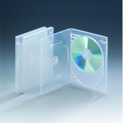 14MM三碟带双夹片光面透明DVD盒